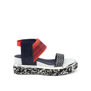 Rico Sandal Black + White Mix + Neon Red + Navy