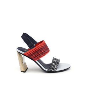 Zink Slingback Hi Black and White Mix + Neon Red