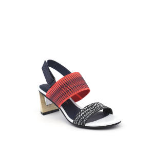 Zink Slingback Mid Black and White Mix + Neon Red