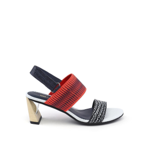 Zink Slingback Mid Black and White Mix + Neon Red 38